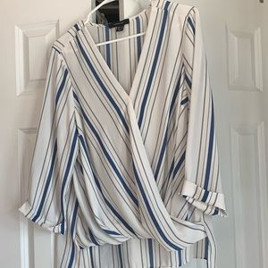3/4 sleeve stripped shirt with wrap feature